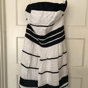 Strapless black and white striped cocktail dress